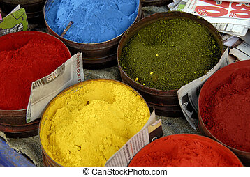 Powdered Paints - A Close Up of Powdered Paint on a Market...