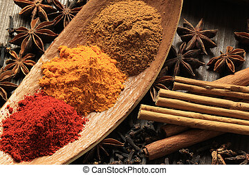 Powdered spices - Cooking ingredients - warm colours of...