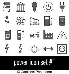 power., セット, 灰色, アイコン, バックグラウンド。, 白, 1., アイコン
