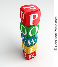 power 3d colorful buzzword dice tower on white background