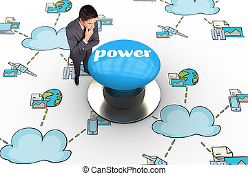 Power against blue push button - The word power and thinking...