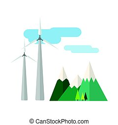 Power alternative energy and eco turbine wind station technology renewable nature vector illustration