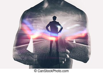 Power and determination of a fighter businessman. Double exposure