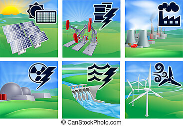 Different types of power or energy generation with icons. Photovoltaic cells solar renewable, oil well pumpjacks, fossil fuel power plant with cooling towers, nuclear, hydroelectric water dam sustainable and wing turbine wind farm alternative