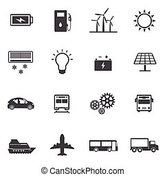 Power and Energy icons set.