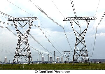 Power and Energy Pylons - Electricity pylons with energy and...