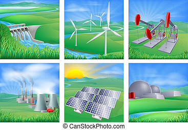 Illustrations of different types of power and energy generation including wind, solar, hydro or water dam and other renewable or sustainable as well as fossil fuel and nuclear power plants. Also oil well pumpjacks