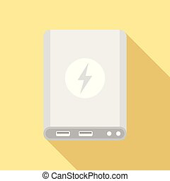 Power bank icon, flat style