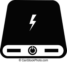 power bank icon on white background. flat style. power bank battery icon for your web site design, logo, app, UI. electrical powerbank symbol. portable charging device sign.