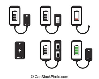 Power bank icons set
