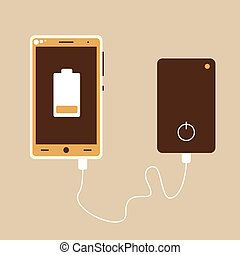 Power bank, vector cell phone charger flat illustration