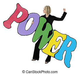 """Beautiful young woman in business suit holding large letter cutout """"POWER"""" painted in bright colors and black trim. Shot in studio over white."""