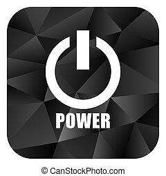 Power black color web modern brillant design square internet icon on white background.