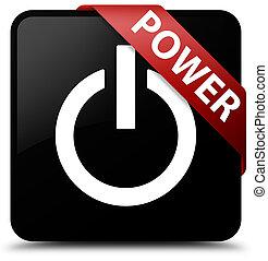 Power black square button red ribbon in corner