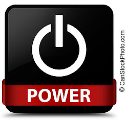 Power black square button red ribbon in middle