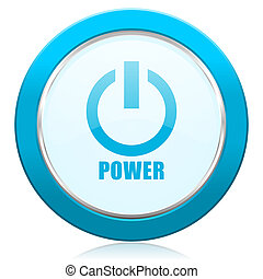 Power blue chrome silver metallic border web icon. Round button for internet and mobile phone application designers.