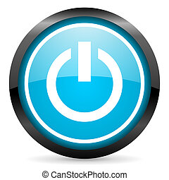 power blue glossy circle icon on white background