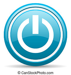 power blue glossy icon on white background