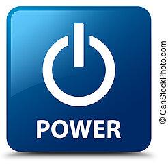 Power blue square button
