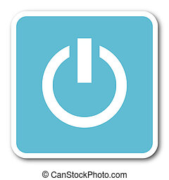 power blue square internet flat design icon