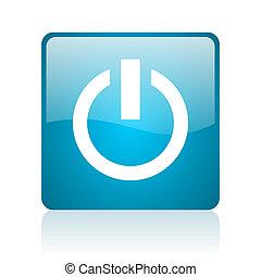 power blue square web glossy icon