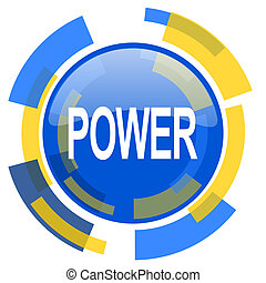 power blue yellow glossy web icon