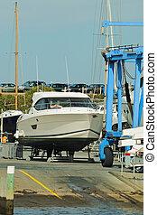Power boat at ramp