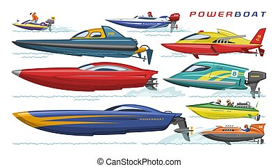 Power boat vector speedboat sailboat transport in sea ocean illustration set of nautical motorized yacht motorboat engine transportation isolated on white background