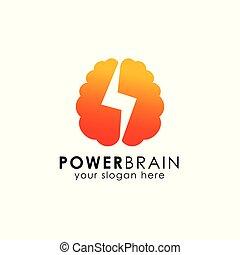 power brain logo design template