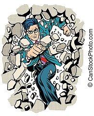 power business businessman breaks wall pop art retro style. ...
