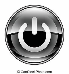 power button black, isolated on white background.