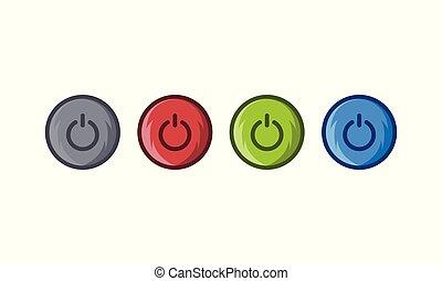 Power button icon color set