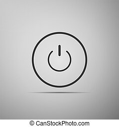 Power button icon isolated on grey background. Start sign. Flat design. Vector Illustration