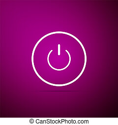 Power button icon isolated on purple background. Start sign. Flat design. Vector Illustration