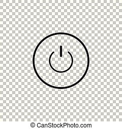 Power button icon isolated on transparent background. Start sign. Flat design. Vector Illustration