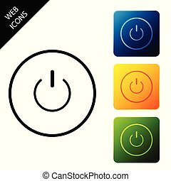 Power button icon isolated. Start sign. Set icons colorful square buttons. Vector Illustration