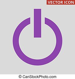 Power button icon on grey background.