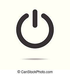 Power button icon - simple flat design isolated on white background, vector