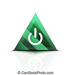 Power button icon, start symbol, web design UI or application design element