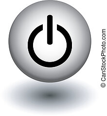 power button icons, white and black,