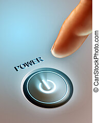 Power button - Index finger pressing a lit power button. ...