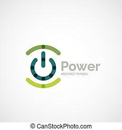 Power button logo design, minimalistic line art