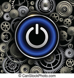 Power button on gears background