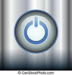 Power button on metallic background, vector.