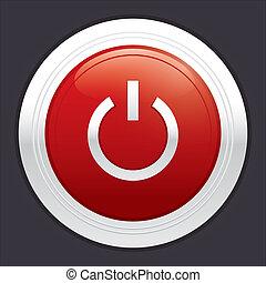 Power button. Red round sticker.