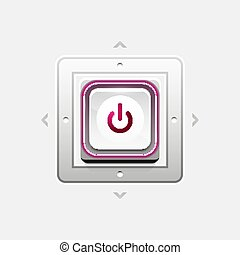 Power button technology logo, digital art techno concept, on...