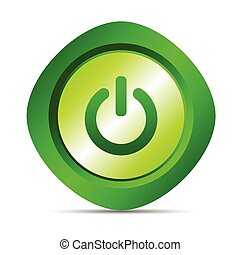 power button vector illustration in green color