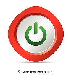 power button vector illustration in red color