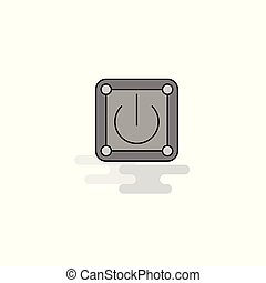 Power button Web Icon. Flat Line Filled Gray Icon Vector
