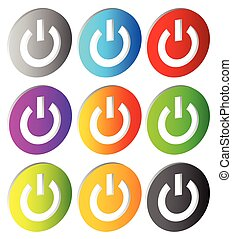 Power buttons. Icons with power symbol. Vector.